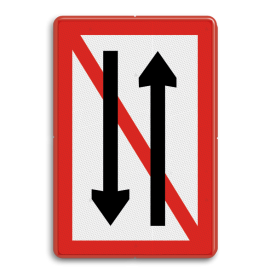 Scheepvaartbord Ontmoeten en voorbijlopen verboden. Te gebruiken voor een versmalling van de vaarwater waar geen gelijktijdige doorvaart uit twee richtingen mogelijk is. Het is aan te bevelen het teken te plaatsen bij een aan beide zijden openstaande sluis of brug, die is voorzien van de seingeving 2 x 2 groene lichten, wat wil zeggen dat het kunstwerk niet bediend wordt. Scheepvaartbord BPR A. 4 - Ontmoeten en voorbijlopen verboden A. 4 A4, water, BPR, Ontmoeten en voorbijlopen verboden, verbodstekens, verbodsborden, waterweg, waterwegen, scheepvaarttekens, verkeerstekens, BPR