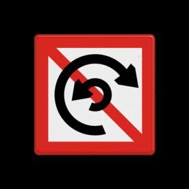 Scheepvaartbord Verboden te keren. Het teken is toe te passen op plaatsen waar keren gevaar voor de scheepvaart oplevert of ter voorkoming van schade aan de oever. Met een onderbord is als dat gewenst is een lengtebeperking aan te geven. De toepassingen van dit bord zijn gering. Scheepvaartbord BPR A. 8 - Verboden te keren A. 8 A8, water, BPR, keren verboden, verbodstekens, verbodsborden, waterweg, waterwegen, scheepvaarttekens, verkeerstekens,