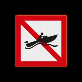 Scheepvaartbord Verboden voor snelle motorboten. Einde van het vaarweggedeelte waar door snelle motorboten zonder beperking van de snelheid mag worden gevaren, dat wil zeggen sneller dan 20 km/uur. Scheepvaartbord BPR A.18 - Verboden voor snelle motorboten A.18 snelle motorboten, water, A18, BPR, verboden, speedboot, verbodstekens, verbodsborden, waterweg, waterwegen, scheepvaarttekens, verkeerstekens