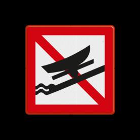 Scheepvaartbord Verboden boten te water te laten of uit het water te halen. Dit teken maakt duidelijk, dat op deze plaats geen boten te water gelaten of uit het water gehaald mogen worden. Het bord staat eveneens aan de landzijde van de locatie. Scheepvaartbord BPR A.19 - Verboden boten te water te laten of uit het water te halen A.19 water, A19, BPR, verboden, uithalen, halen, tewater laten, verbodstekens, verbodsborden, waterweg, waterwegen, scheepvaarttekens, verkeerstekens