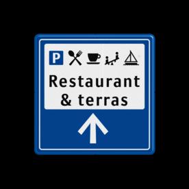 Bewegwijzeringsbord ANWB stijl Bewegwijzeringsbord 1:1 zelf tekstbord maken, tekst invoeren, blauw bord