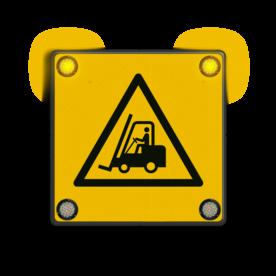 Waarschuwingsbord met veiligheidspictogram NEN7010 + 12V LED hoeklampen Gevaar voor vorkheftrucks en andere industriële voertuigen