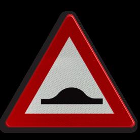 Verkeersbord A14: Verhoogde inrichting(en). Verkeersbord België A14 - Verhoogde inrichting(en) A14 pas op, let op, hobbels in de weg, slechte weg, J038