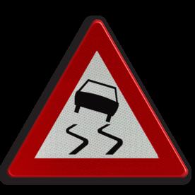Verkeersbord A15: Glibberige rijbaan (slipgevaar). Verkeersbord België A15 - Glibberige rijbaan (slipgevaar) A15 pas op, let op, glad, wegdek, J20
