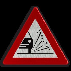 Verkeersbord A17: Kiezelprojectie. Verkeersbord België A17 - Kiezelprojectie A17 pas op, let op, stenen, kiezels, J25, steenslag