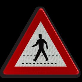 Verkeersbord A21: Oversteekplaats voor voetgangers. Verkeersbord België A21 - Oversteekplaats voor voetgangers A21 pas op, let op, zebrapad, J22