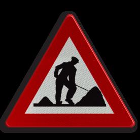 Verkeersbord A31: Werken. Verkeersbord België A31 - Werken. A31 pas op, let op, werken, J16, werkzaamheden, wegwerkzaamheden