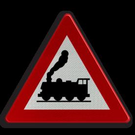 Verkeersbord A43: Overweg zonder slagbomen. Verkeersbord België A43 - Overweg zonder slagbomen A43 pas op, let op, geen slagbomen, J11