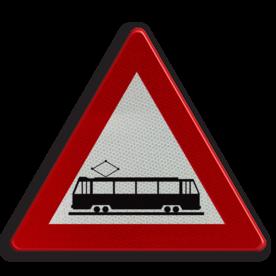Verkeersbord A49: Kruising van een openbare weg door een of meer in de rijbaan aangelegde sporen. Verkeersbord België A49 - Kruising van sporen A49 pas op, let op, trein, tram, J14