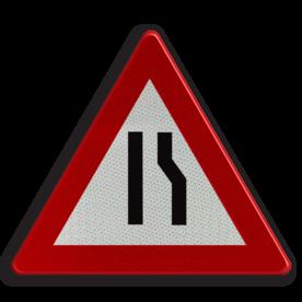 Verkeersbord A7b: Rijbaanversmalling langs rechts. Verkeersbord België A07b - Rijbaanversmalling rechts A07b pas op, let op, dubbele bocht, helling, stijgend, omhoog, heuvel, berg, steil, j18