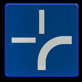 Verkeersbord B0: Onderbord om de curve van de weg aan te geven. Het mag geplaatst worden onder de borden B1, B3, B5, B7, B9 en B15 Verkeersbord België B00 - Onderbord curve weg B00 bocht in de weg,