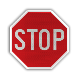 Verkeersbord B5: Stoppen en voorrang verlenen. Verkeersbord België B05 - Stoppen en voorrang verlenen. B05 Stopbord, nu stoppen, voorrangswegbord, stop, B7