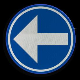 Verkeersbord D01a: Verplichting de door de pijl aangeduide richting te volgen. (hier links) Verkeersbord België D01a - Verplichting de door de pijl aangeduide richting te volgen D01a links, rijrichting, bord