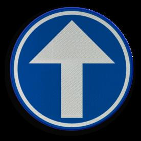 Verkeersbord D01c: Verplicht rechtdoor. Verkeersbord België D01c - Verplicht rechtdoor. D01c Rijrichtingsbord, D04, rechtdoor, verplicht