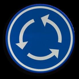Verkeersbord D05: Verplicht rondgaand verkeer. Verkeersbord België D05 - Rotonde D05 rotondebord, 3 pijlen, rond blauw bord, D01,