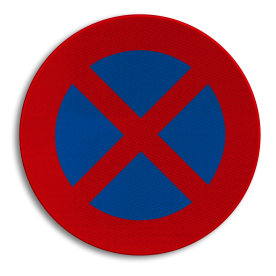 Verkeersbord E3: Stilstaan en parkeren verboden. Verkeersbord België E03 - Stilstaan en parkeren verboden E03
