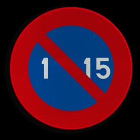 Verkeersbord E5: Parkeerverbod van de 1e tot de 15e van de maand. Verkeersbord België E05 - Stilstaan en parkeren verboden E05