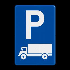 Verkeersbord E9c: Parkeren uitsluitend voor lichte vrachtauto's en vrachtauto's. Verkeersbord België E09c - Parkeren uitsluitend voor lichte vrachtauto's en vrachtauto's. E09c Parkeerbord, vrachtwagen, vrachtauto, E08C