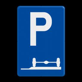 Verkeersbord E9e: Verplicht parkeren op de berm of op het trottoir Verkeersbord België E09e - Verplicht parkeren op de berm of op het trottoir E09e parkeersbord, berm, zijkant, stoep