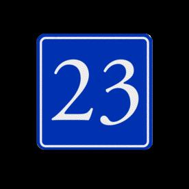 Huisnummerbord (LOS)  blauw/wit buitengebied, huisnummer, nummer, huis, buiten, gebied, paal