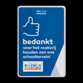 Rookvrij bord - EIGEN ONTWERP - Op weg naar een Rookvrije generatie GGD, Amsterdam, GGD Amsterdam, Rookvrij, gebouw, terrein, ROC