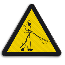 Product Schoonmaak onder hoge druk (geen officieel NEN-EN-ISO pictogram) Waarschuwingssymbool Hoge drukspuit Hoge druk reiniging, hogedruk, schoonspuiten, schoon maken