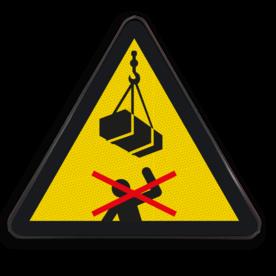Product Niet onder de last lopen (geen officieel NEN-EN-ISO pictogram) Waarschuwingssymbool Niet onder de last lopen Waarschuwingssymbool, Last, doorlopen,
