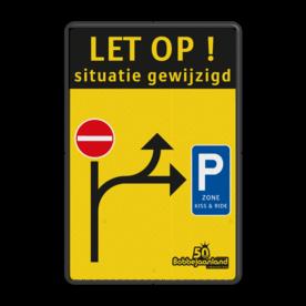 Verkeersbord Situatie gewijzigd België - Bobbejaanland Verkeersbord situatie gewijzigd - C1 - E9 zone kiss&ride - België Fluor geel / zwarte rand, (RAL 9005 - zwart), Let op!, C1, E9, belgie