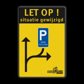 Verkeersbord Situatie gewijzigd België - Bobbejaanland Verkeersbord situatie gewijzigd - E9 zone kiss&ride - België Fluor geel / zwarte rand, (RAL 9005 - zwart), Let op!, C1, E9, belgie
