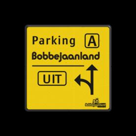 Verkeersbord Situatie gewijzigd België - Bobbejaanland Verkeersbord situatie gewijzigd - Parking A - Bobbejaanland Fluor geel / zwarte rand, (RAL 9005 - zwart), Let op!, C1, E9, belgie