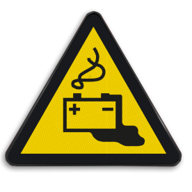 Product Gevaar voor accu's Pictogram W026 - Gevaar voor accu's W026 accu, volt, stroom, accuzuur, zuur, acid