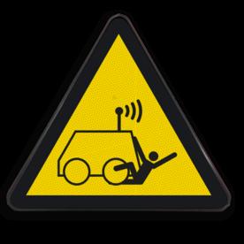 Product Gevaar voor op afstand gestuurde voertuigen Pictogram W037 - Gevaar voor op afstand gestuurde voertuigen W037 Robot, bestuurbare, afstand, Voertuig,