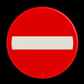 Scheepvaartbord Invaart, uitvaart of doorvaart permanent verboden. Buiten gebruik gesteld gedeelte van de vaarweg. Het vaarverbod geldt niet voor een klein schip, dat geen motorschip is. Dit bord kan niet gecombineerd worden met een onderbord. Scheepvaartbord BPR A. 1a - Invaart, uitvaart of doorvaart permanent verboden A. 1a Verbodsborden, verbodstekens, Invaart, uitvaart en doorvaart permanent verboden. Verboden in te varen, niet invaren, water, A1, A1a, BPR, waterweg, waterwegen, scheepvaarttekens, vekeerstekens