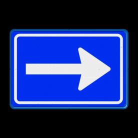 Verkeersbord Eenrichtingsweg volg verplichte rijrichting Verkeersbord RVV C04 - Eenrichtingsweg (volgen) C04 rijrichting, eenrichting, bord met pijl, vierkant bord met pijl, blauw bord met pijl, c4