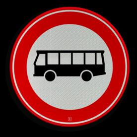 Verkeersbord Autobus is : motorvoertuig, ingericht voor het vervoer van meer dan acht personen, de bestuurder daaronder niet begrepen Verkeersbord RVV C07a - Gesloten voor bussen C07a verbodsbord, verboden voor vrachtwagens, geen vrachtwagens, verboden, vrachtauto's, c7