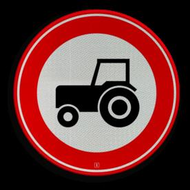 Verkeersbord Gesloten voor motorvoertuigen die niet sneller kunnen of mogen rijden dan 25km/h Verkeersbord RVV C08 - Gesloten voor langzaam verkeer C08 verbodsbord, verboden voor tractoren, geen tractor, verboden, trekker, C8