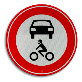 Verkeersbord Gesloten voor alle motorvoertuigen Verkeersbord RVV C12 - Gesloten voor alle motorvoertuigen C12 verbodsbord, verboden voor auto's, geen auto's, verboden, motoren, motor, C12
