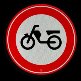 Verkeersbord Gesloten voor brom-, snorfietsers en voor gehandicaptenvoertuigen met in werking zijnde motor Verkeersbord RVV C13 - Gesloten voor brom-, snorfietsers C13 verbodsbord, verboden voor brommers, geen brommer, verboden, C13
