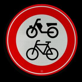 Verkeersbord Gesloten voor fietsers, bromfietsers en gehandicaptenvoertuigen Verkeersbord RVV C15 - Gesloten voor fietsers, bromfietsers C15 verbodsbord, verboden voor brommers, geen brommers, verboden,fietsen, C15
