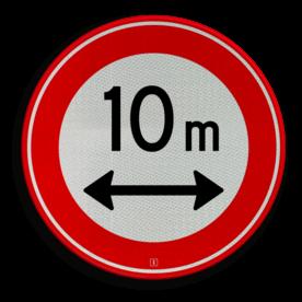 Verkeersbord Gesloten voor voertuigen en samenstellingen van voertuigen die, met inbegrip van de lading, langer zijn dan op het bord is aangegeven Verkeersbord RVV C17-... - Gesloten voor te lange voertuigen C17 gesloten voor, verbodsbord, verboden, lengte, C17