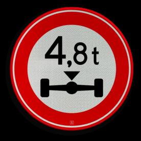 Verkeersbord Gesloten voor voertuigen en samenstellingen van voertuigen waarvan de aslast hoger is dan op het bord is aangegeven Verkeersbord RVV C20-... - Gesloten voor te zware aslast C20 verbodsbord, verboden, gewicht, C20, asdruk, as druk