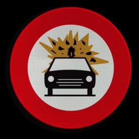 Verkeersbord C24b: Verboden toegang voor bestuurders van voertuigen die gevaarlijke ontvlambare of ontplofbare stoffen vervoeren. Verkeersbord België C24b - Verboden toegang voor bestuurders van voertuigen die gevaarlijke ontvlambare of ontplofbare stoffen vervoeren. C24b verbodsbord, gevaarlijke, ontploffing, stoffen, ontvlambaar