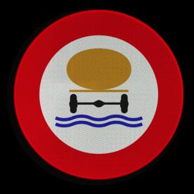 Verkeersbord C24c: Verboden toegang voor bestuurders van voertuigen die gevaarlijke verontreinigende stoffen vervoeren. Verkeersbord België C24c - Verboden toegang voor bestuurders van voertuigen die gevaarlijke verontreinigende stoffen vervoeren. C24c verbodsbord, onrein, stoffen, onhygiënisch