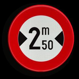 Verkeersbord C27: Verboden toegang voor bestuurders van voertuigen waarvan de breedte, lading inbegrepen, groter is dan het aangeduide. Verkeersbord België C27 - Verboden toegang voor bestuurders van voertuigen waarvan de breedte, lading inbegrepen, groter is dan het aangeduide. C27 verbodsbord, c18, voortuigen, meter, breed