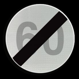 Verkeersbord C45: Einde van de snelheidsbeperking opgelegd door het verkeersbord C43. Verkeersbord België C45 - Einde van de snelheidsbeperking opgelegd door het verkeersbord C43. C45 verbodsbord, einde, inhaalverbod,