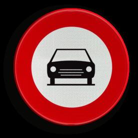 Verkeersbord C05: Verboden toegang voor bestuurders van motorvoertuigen met meer dan twee wielen en van motorfietsen met zijspan. Verkeersbord België C05 - Gesloten voor voertuigen C05 verbodsbord, verboden voor auto's, geen auto's, verboden, C05, C5, RVV