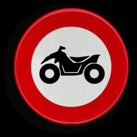Verkeersbord C6: verboden toegang voor bestuurders van motorvoertuigen met vier wielen, geconstrueerd voor onverhard terrein, met een open carosserie, een stuur als op een motorfiets en een zadel. Verkeersbord België C06 - Verboden toegang voor bestuurders van motorvoertuigen met vier wielen C06 verbodsbord,