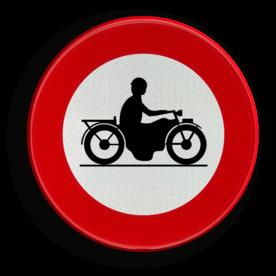 Verkeersbord C7: Verboden toegang voor bestuurders van motorfietsen. Verkeersbord België C07 - Verboden toegang voor bestuurders van motorfietsen. C07 verbodsbord, verboden voor motor's, motors, motoren, c11
