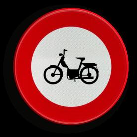 Verkeersbord C9: Verboden toegang voor bestuurders van bromfietsen. Verkeersbord België C09 - Verboden toegang voor bestuurders van bromfietsen. C09 verbodsbord, c13,