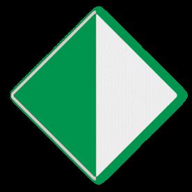 Scheepvaartbord Aanbeveling binnen de aangegeven begrenzing te varen. Het teken bestaat altijd uit twee borden en wordt meestal toegepast aan vaste bruggen om de breedte van het vaarwater te markeren. Als de doorvaarthoogte van een brug doormiddel van hoogteschalen is aangegeven, komt de afgelezen waarde van de schaal overeen met de hoogte onder het punt van de brug waar teken D.2 is aangebracht. Het teken fungeert in dat geval als referentieteken. Scheepvaartbord BPR D. 2a links - Aanbeveling binnen de aangegeven begrenzing te varen D. 2a water, D2a, aanbevelingstekens, aanbevelingsborden, waterweg, waterwegen, scheepvaarttekens, verkeerstekens